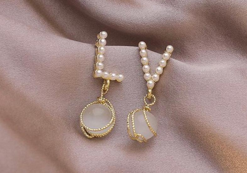 """Opal """"LV"""" Earrings"""