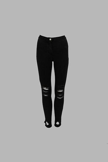 Charcoal Distress High Waist Jeans