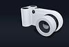 White smart camera on a black background