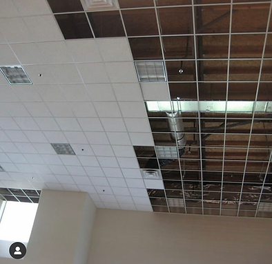 Showing how framework is used to  create a suspended ceiling