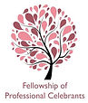 Tree logo in shades of red and pink for the Fellowship of Professional Celebrants