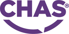 CHAS Accreditation logo in purple