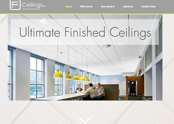 The banner for the website of a suspended ceiling company showing a meeting