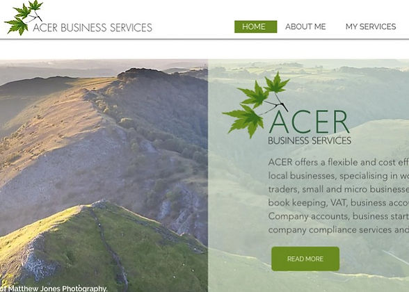 Banner for a business services company showing the Peak District