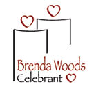Two candles with heart shaped flames and the words Brenda Woods Celebrant.