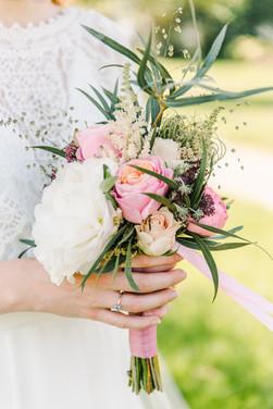 Trouwboeket roze met wit