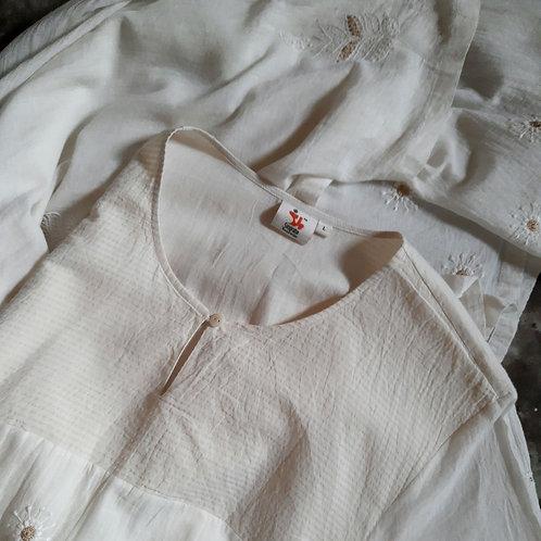 Kushmal Chikankari Waist Yoke Layered Tunic Dress