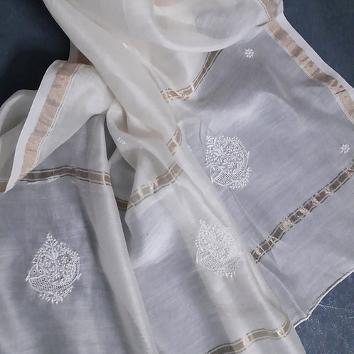 Saghacharin Chikankari Cotton-Silk (Chanderi) Dupatta