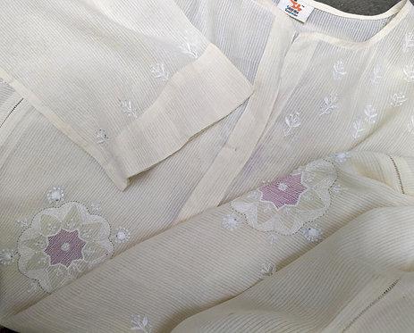 Shasti Chikankari Henley Neck Long Self Stripe Cotton Panelled Kurta