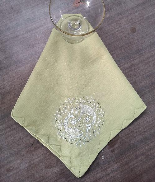 Mushti Chikankari Embroidered Cotton Dinner Napkins Set Of 4