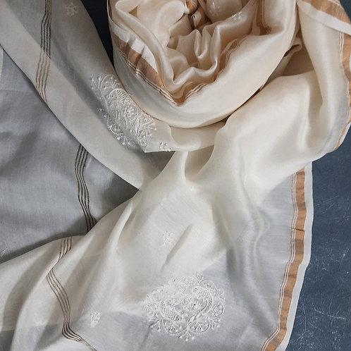 Visara Chikankari Cotton-Silk (Chanderi) Dupatta