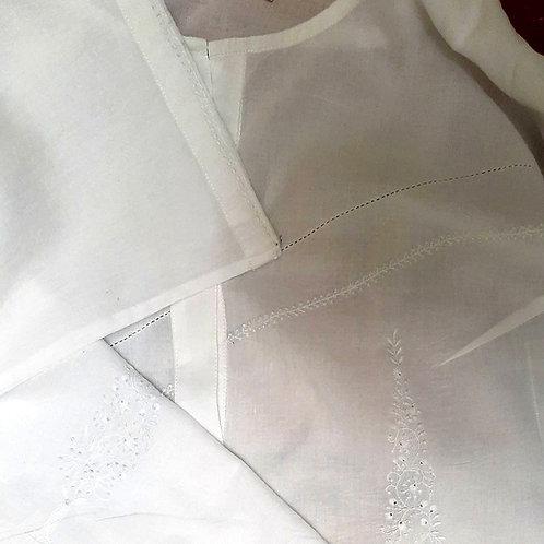 Kakini Henley Neck White Chikankari Blouse