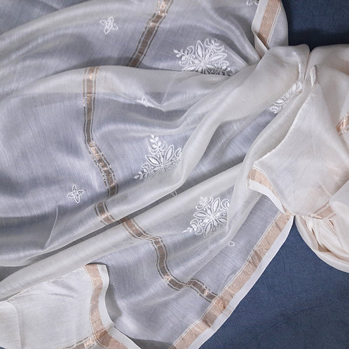 Vapra Chikankari Cotton-Silk (Chanderi) Dupatta