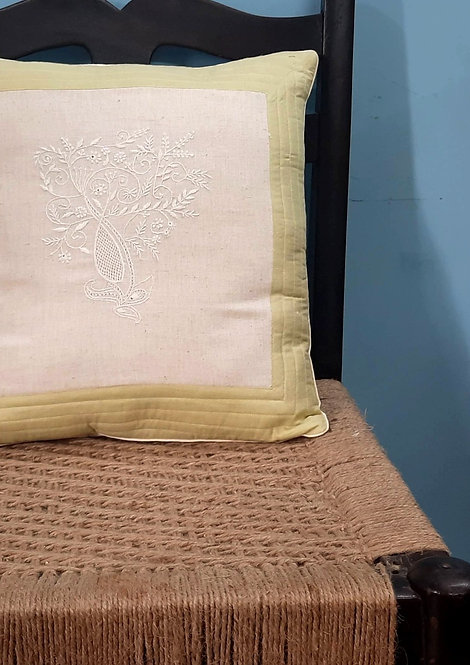 Ranchak Chikankari Quilted Cushion Cover with String tie