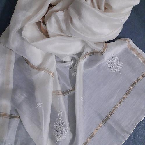 Kushmal Chikankari Cotton-Silk (Chanderi) Dupatta