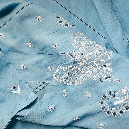 Sukandakh Chikankari V-Neck Flared Panelled Tunic