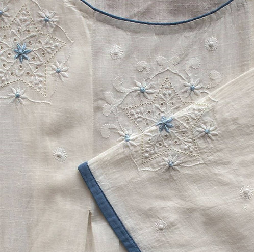 Agasti Chikankari Round Neck Pleated Long Tunic