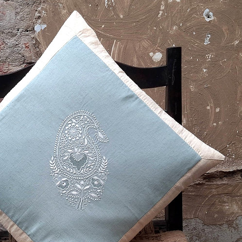 Madhuli Chikankari Quilted Cushion Cover with String tie