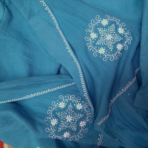Tarak Chikankari Shawl Collar lined Pleated Long Jacket