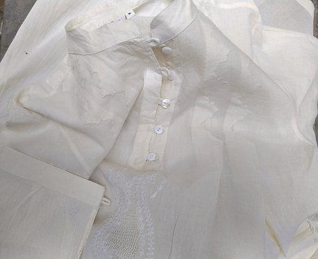 Kundika Chikankari Band Collar Pleated Long Tunic