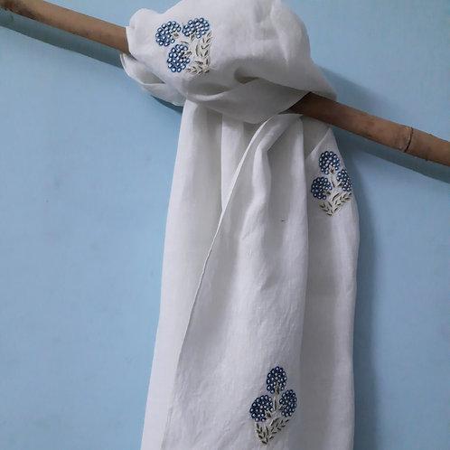 Supta Chikankari Cotton-Linen Stole