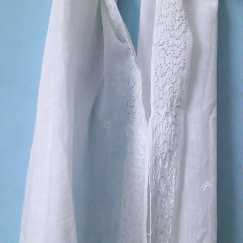Manah Handcrafted chikan zardosi hanwoven cotton Stole