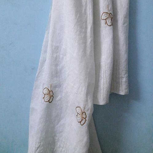 Sakal Handcrafted chikan zardosi hanwoven Linen Stole