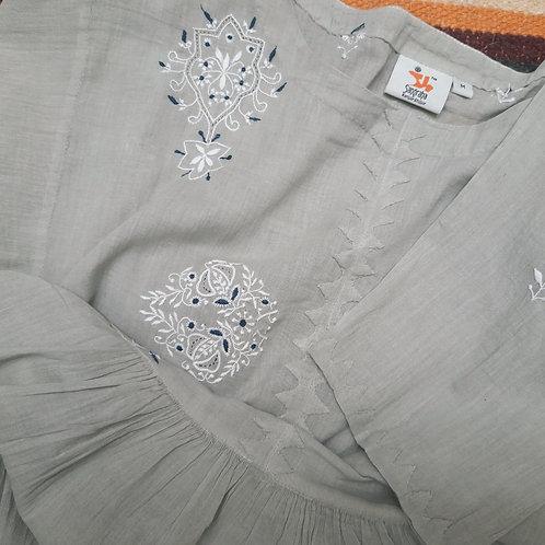 Akhota Chikankari Round-Neck Gathered Long Tunic