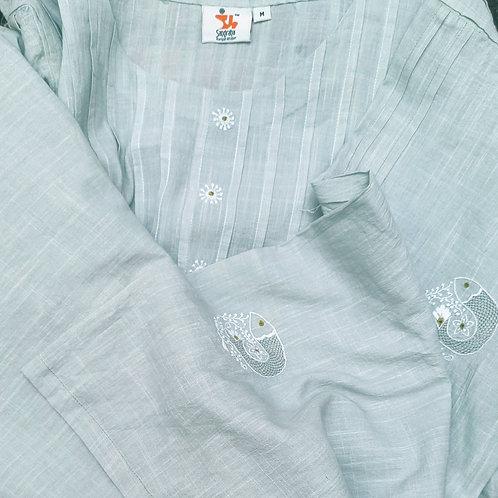 Jalika Chikankari Round-Neck Pleated Long Tunic