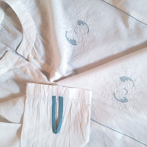 Visara Band Collar Henley Neck Natural White Chikankari Blouse