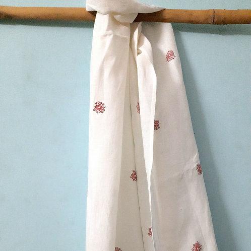 Nirgun Handcrafted chikan zardosi hanwoven Linen Stole