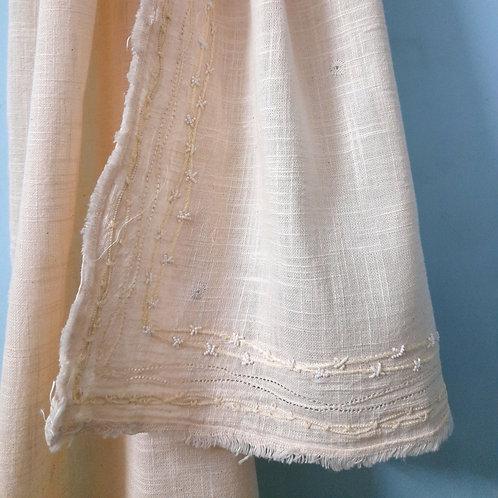 Kantak Handcrafted chikan zardosi handwoven cotton Stole