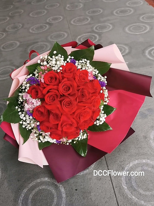 20 red rose long bouquet