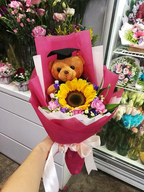 Graduation bear & sunflower bouquet
