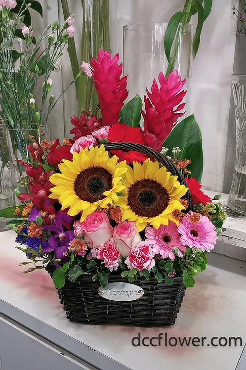Mix flower basket arrangement