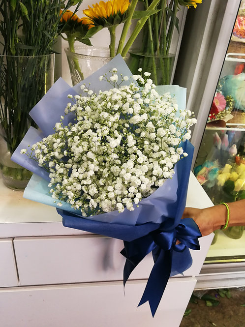 White color babybreath bouquet