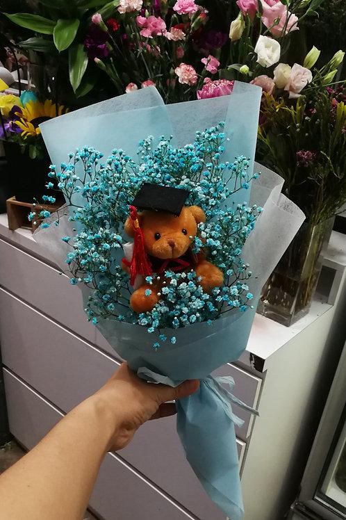 Small graduation bear & babybreath bouquet