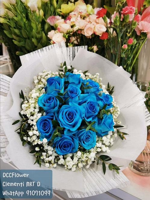 12 blue rose bouquet