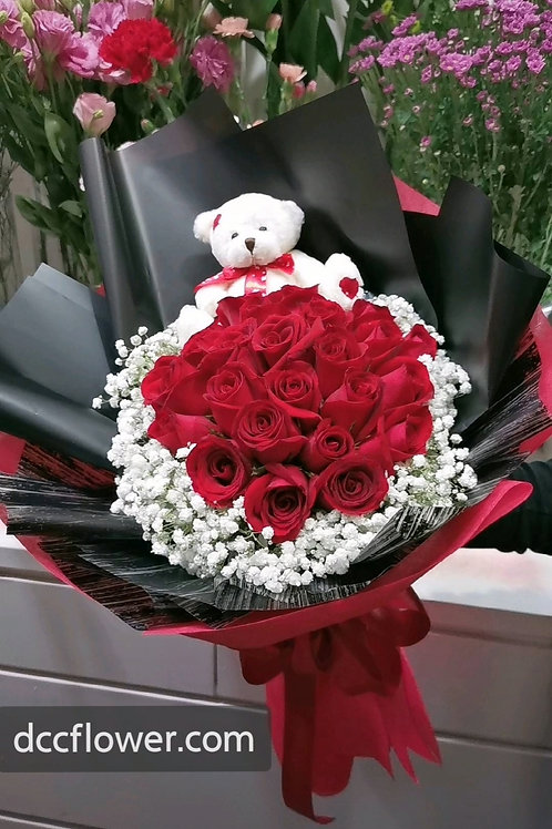 24 red rose bouquet with a bear