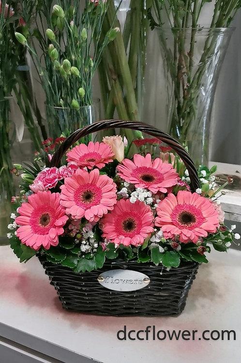 Gerbera basket arrangement