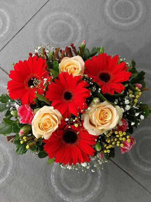 Gerbera & rose basket