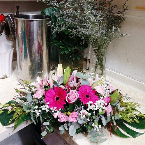 Pink Colour Mix Flowers Table Arrangement