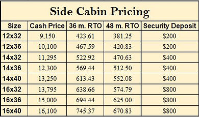 side cabin pricing
