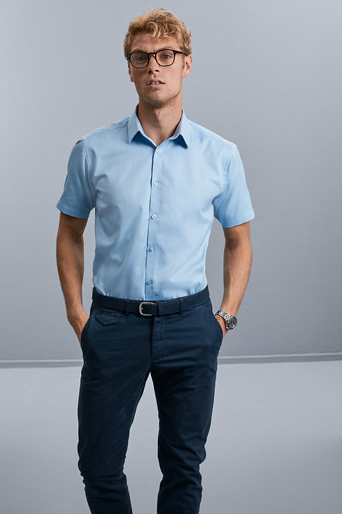 Russell Collection Men's Short Sleeve Herringbone Shirt