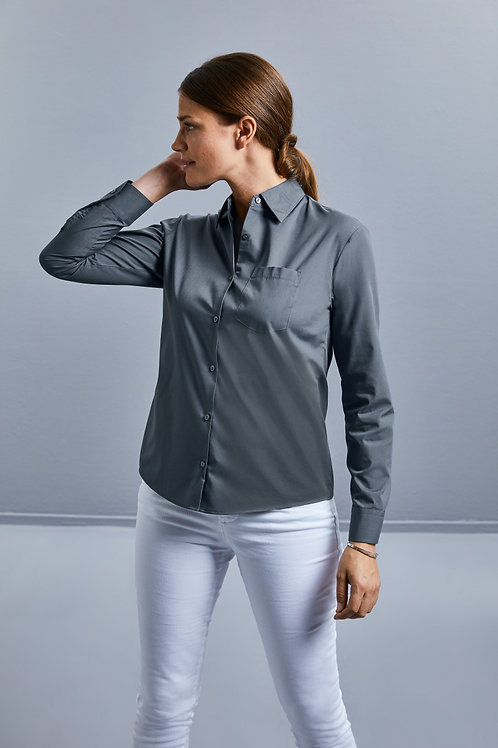 Russell Collection Ladies' Long Sleeve Polycotton Easy Care Poplin Shirt