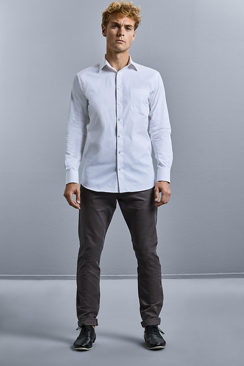 Russell Collection Men's Long Sleeve Tailored Coolmax� Shirt