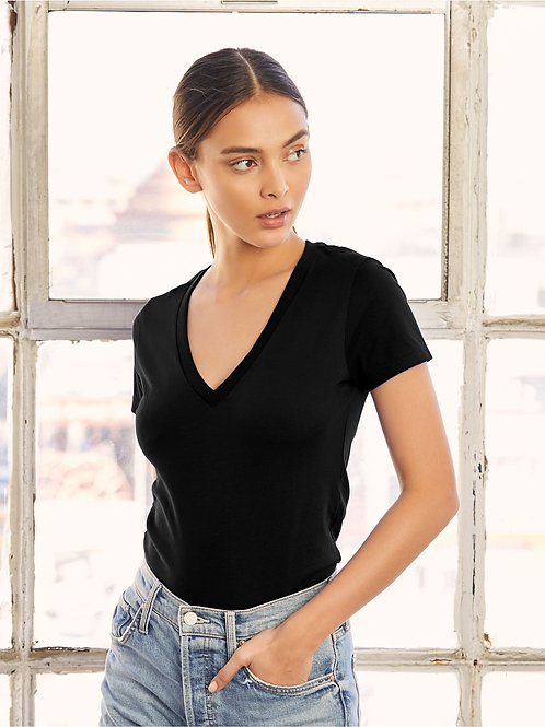 Bella Women's Jersey Short Sleeve Deep V-Neck Tee