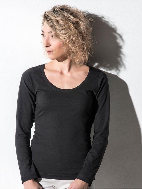 Nakedshirt Women's 'Sheila' Organic Deep Round Long Sleeve T-Shirt