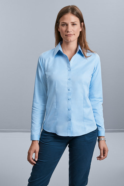 Russell Collection Ladies' Long Sleeve Herringbone Shirt