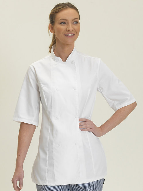 Dennys Ladies' Short Sleeve Fitted Chef's Jacket